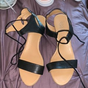 Short wedge sandals, rarely worn, like brand new!